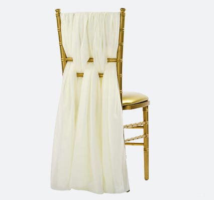 Charged Up Events Chiffon Chair Sash Ivory