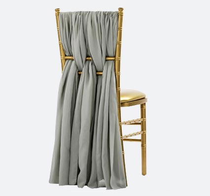 Charged Up Events Chiffon Chair Sash Silver