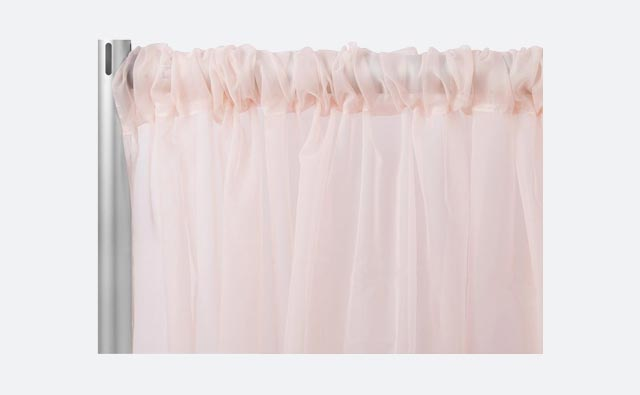 Charged Up Events Pipe & Drape Blush Rose Gold Sheer Voile